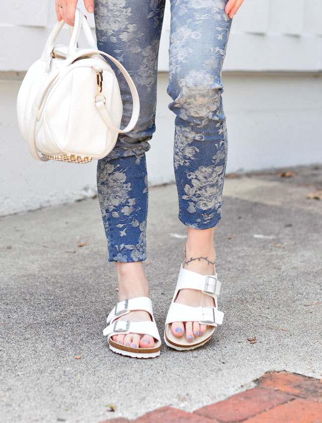 floral denim jeans- white birkenstocks