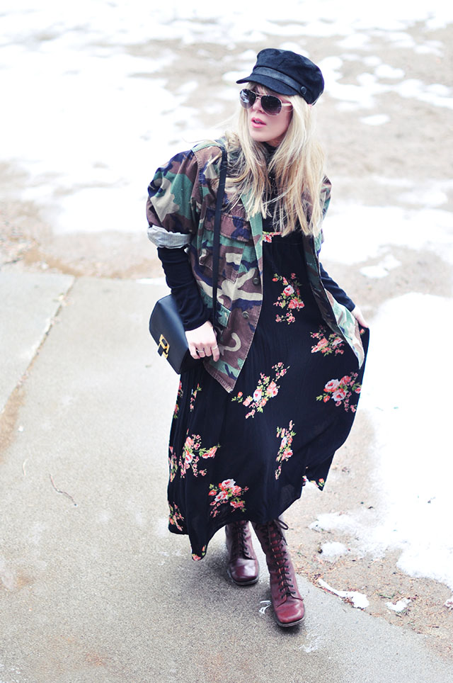 floral print+camo_military femme