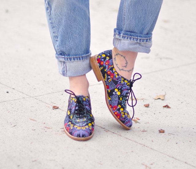 floral print oxford lace ups-marc jacobs