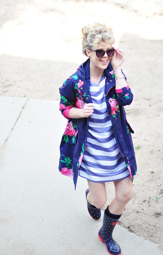 floral raincoat_joules rain boots