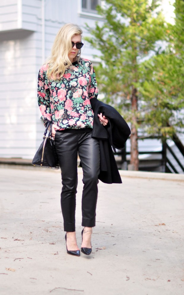 floral sweatshirt and leather pants