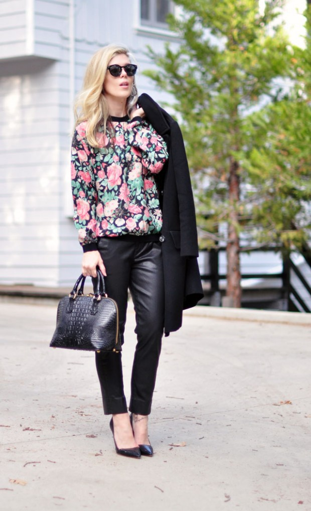 floral sweatshirt leather pants-2