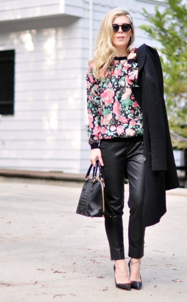 floral sweatshirt leather pants pumps