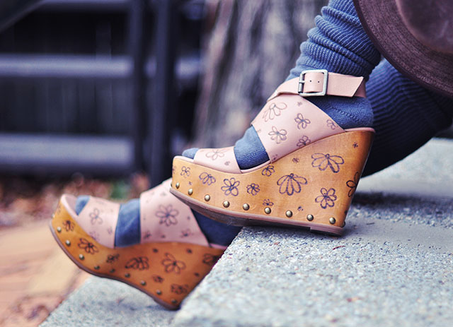 floral wedges with socks-70s wood wedges-90s