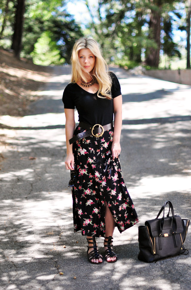 flower maxi skirt with button front-belt-gladiator sandals