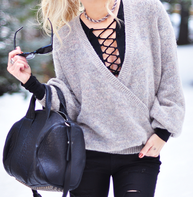 free people lace up top and open sweater