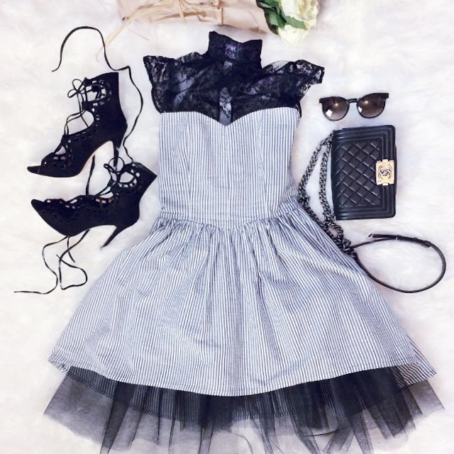 friday fairytale_chanel boy bag_shelby dress_lace up heels