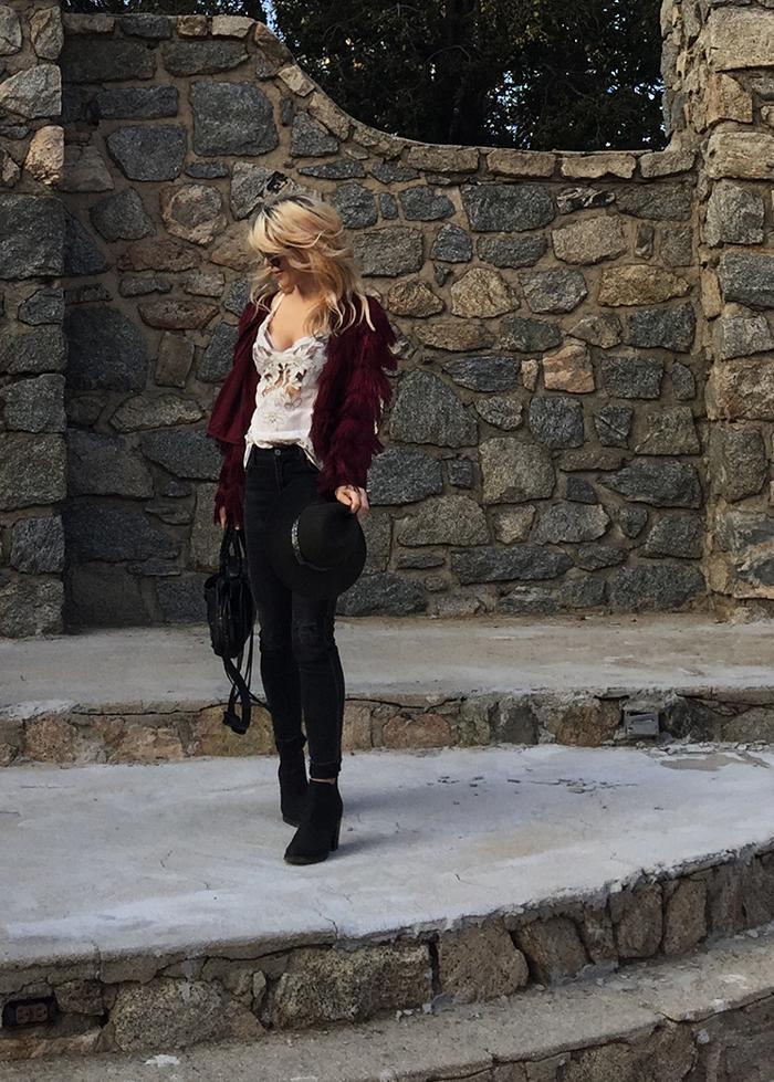 fringe jacket-black jeans-cut out tank-boho style-love maegan tintari