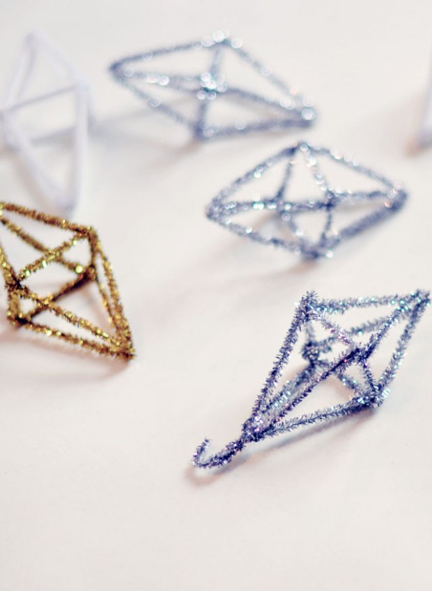 geo metallic pipe cleaner christmas -ornaments DIY