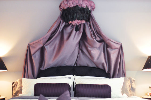 glam bedroom+DIY feather pendant canopy over bed