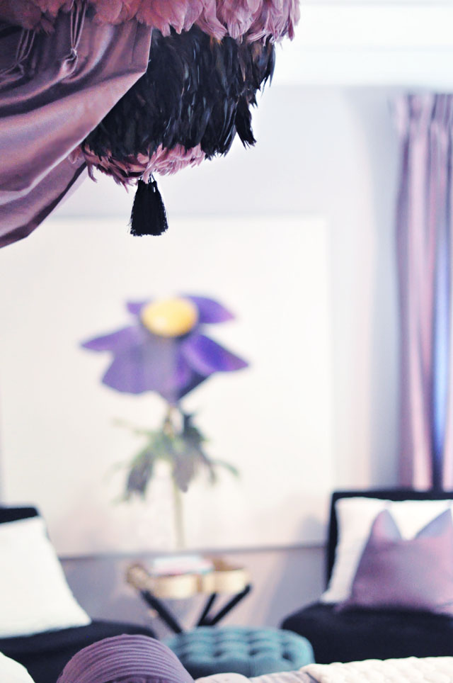 glam bedroom+feather pendant canopy diy-purple green black