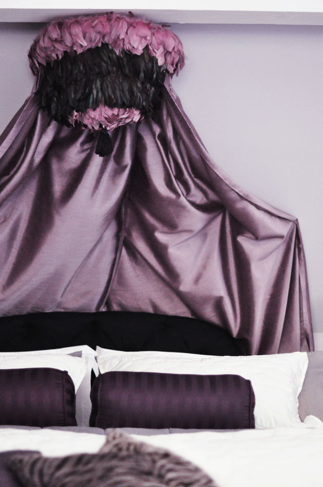 glam purple black bed + DIY feather pendant canopy over bed