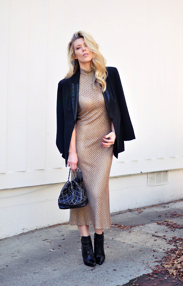 gold mesh dress