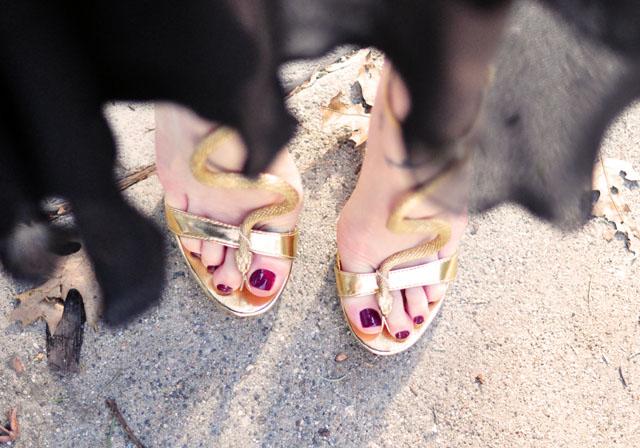 gold snake sandals heels