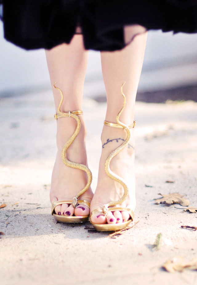 gold snake serpent sandals DIY-3