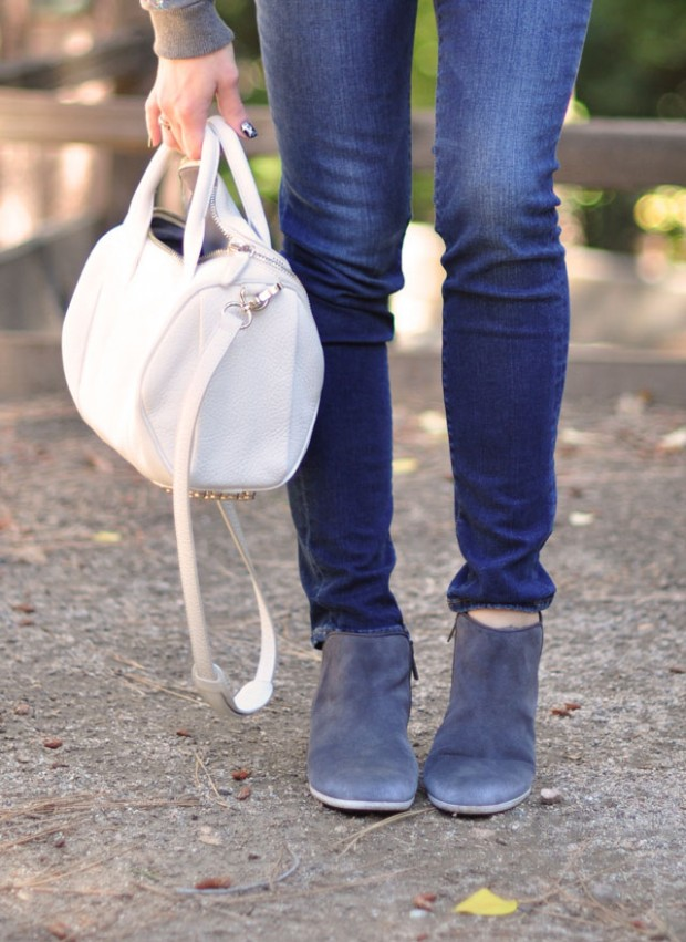 gray ankle boots-white wang bag
