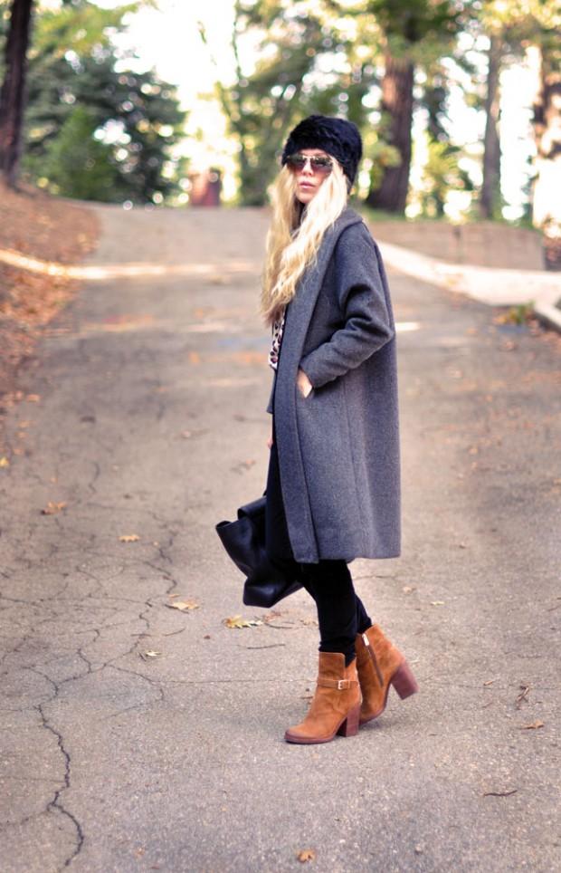 gray coat-black cords-brown boots
