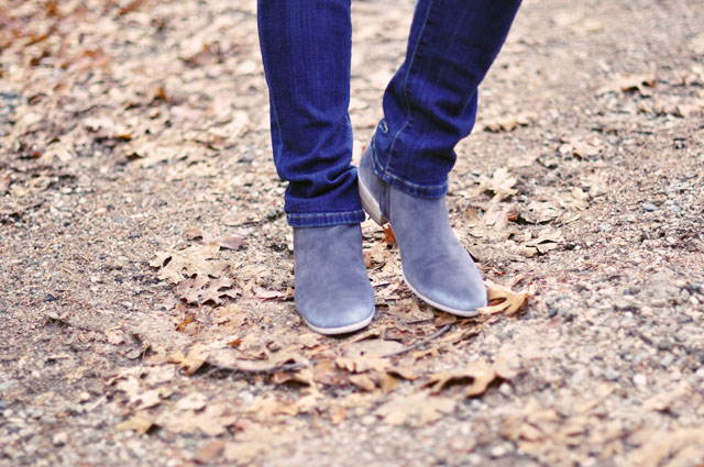 gray suede ankle boots and jeans