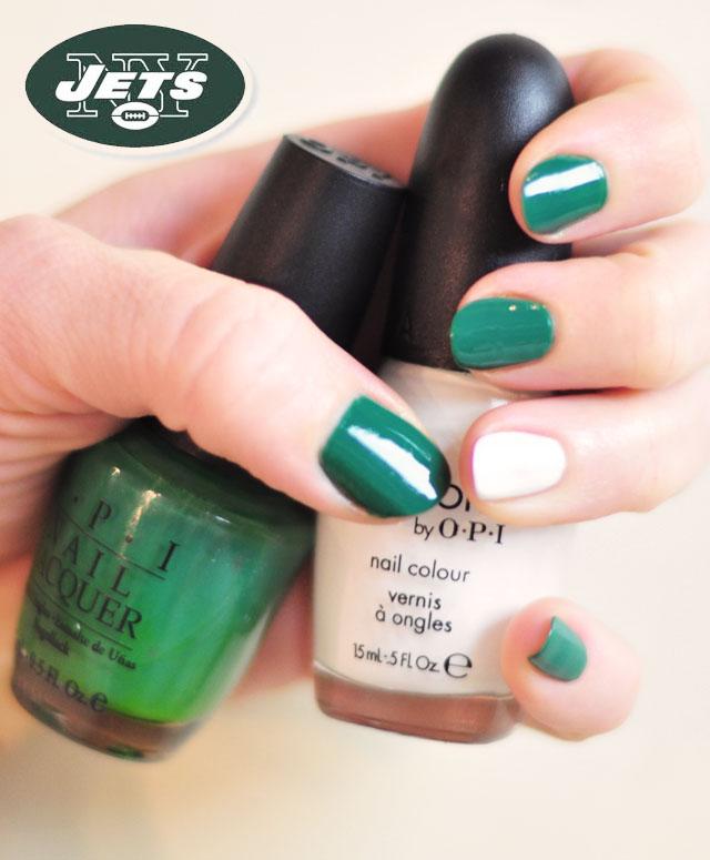 green and white NY Jets Nails
