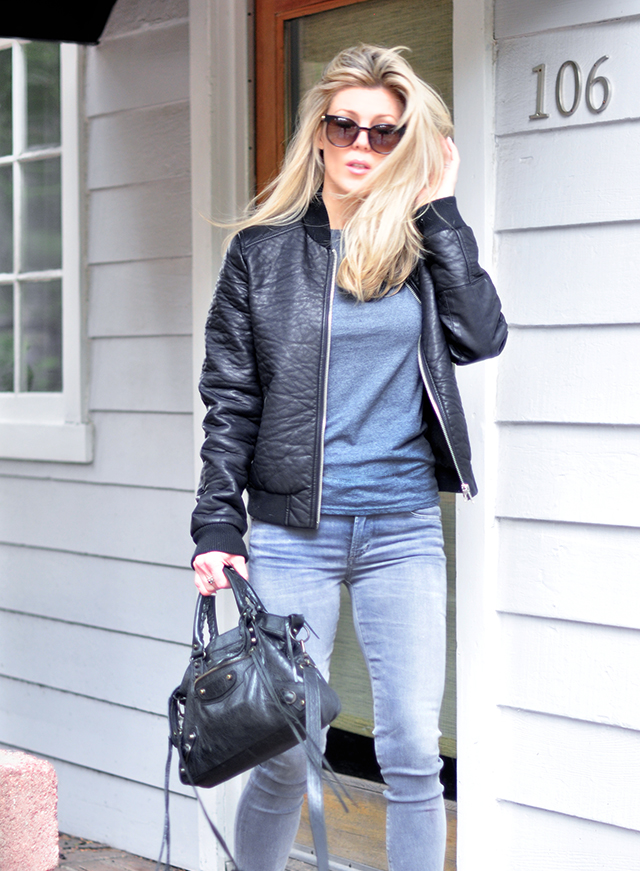 grey and black_faux leather bomber