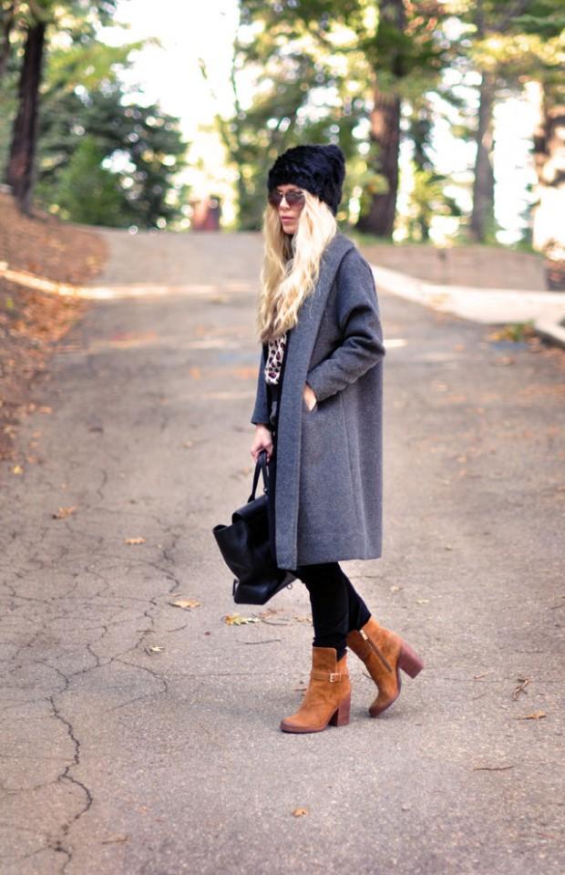 grey coat brown boots-1