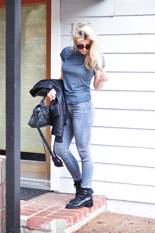 grey jeans_grey tee_black bomber