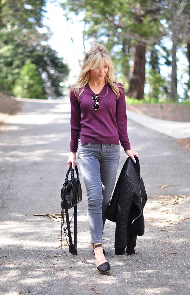 grey jeans_plum wine vintage sweater