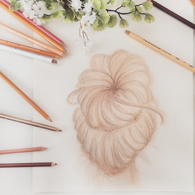 hair sketches_sock bun
