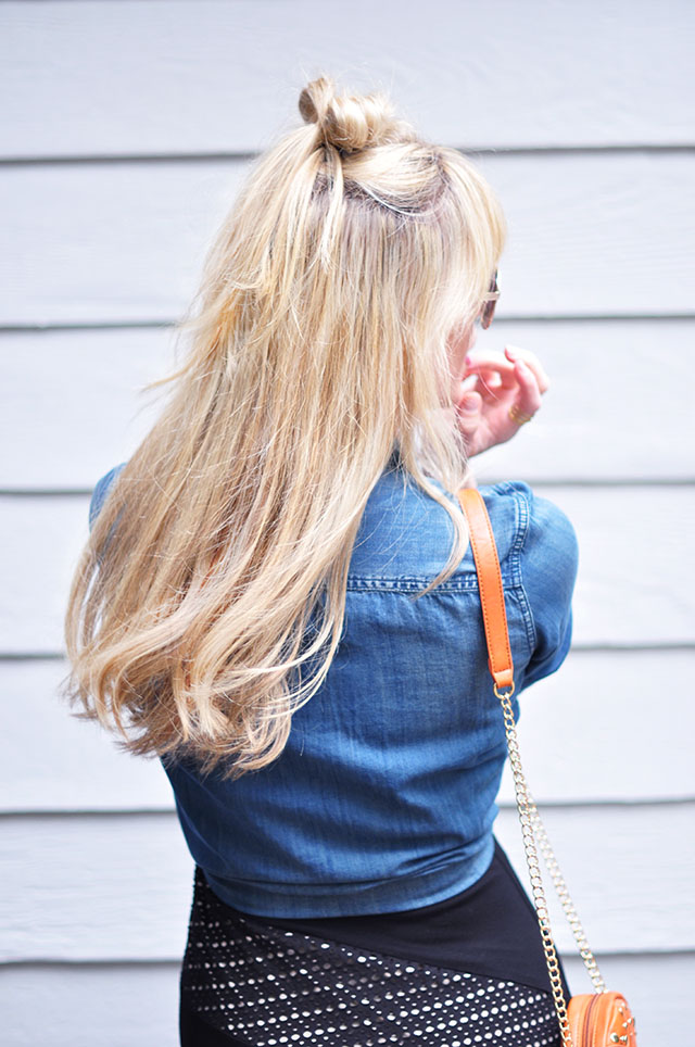 half up top knot hair bow
