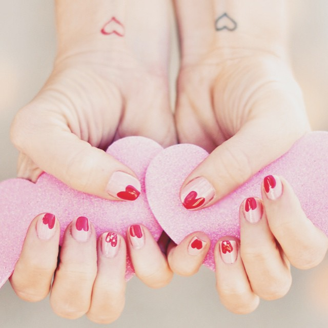 heart tattoos_valentines day nails