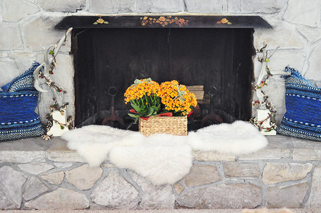 hearth decor transitioning into fall
