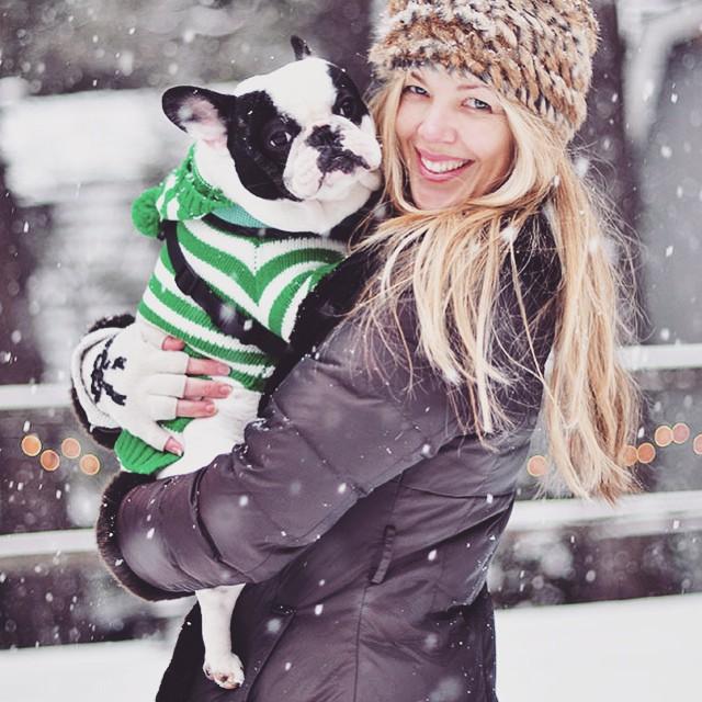 holding trevor in the snow