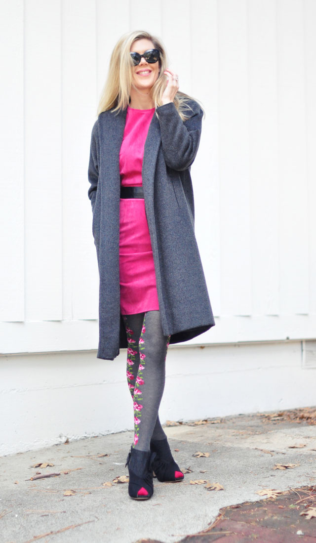 hot pink suede dress flower tights gray coat-1
