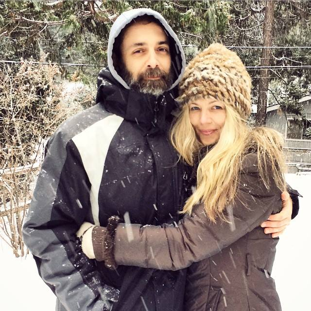 hugging in the snow