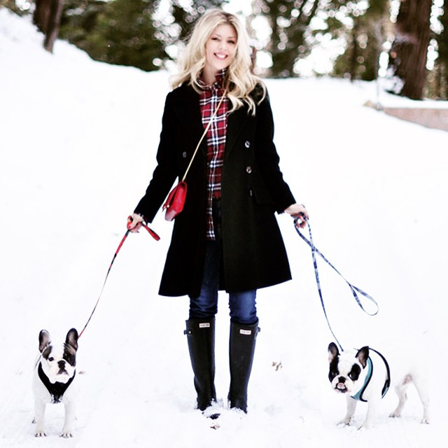 hunter boots-french bulldogs-plaid-ootd in the snow