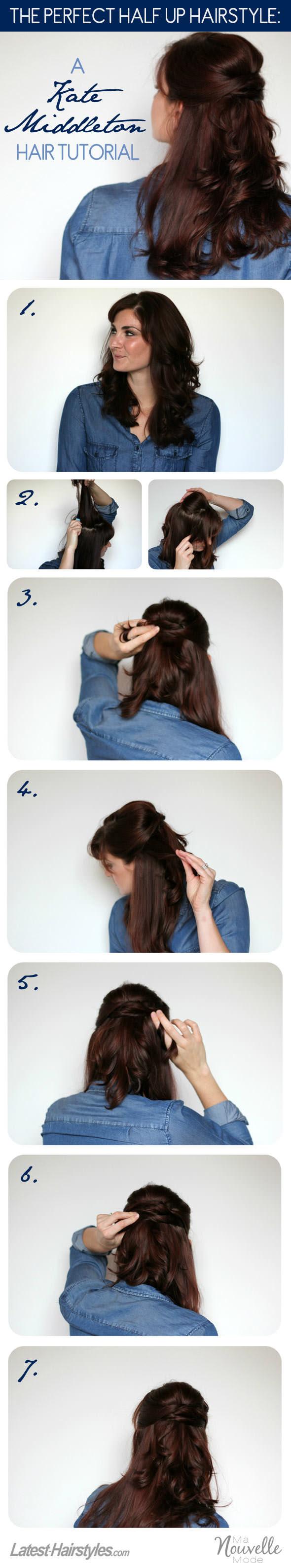 Kate Middleton's half up hair style tutorial