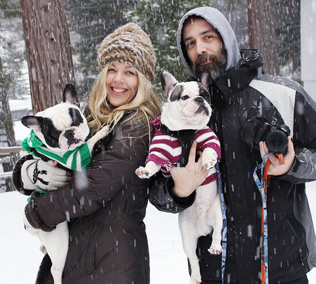 in the snow with the dogs