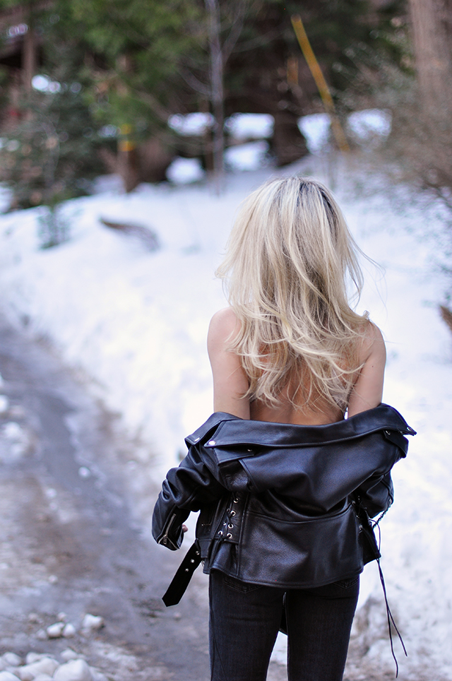 outfit in the snow, classic biker jacket