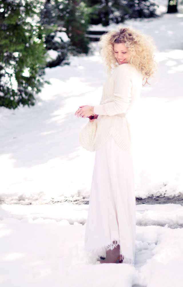 ivory and white and pink  in the snow-winter style-big hair