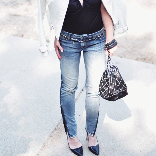 jeans and a bodysuit_vintage chanel bucket bag