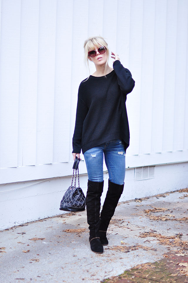 jeans and boots_sweater diy_chanel bag