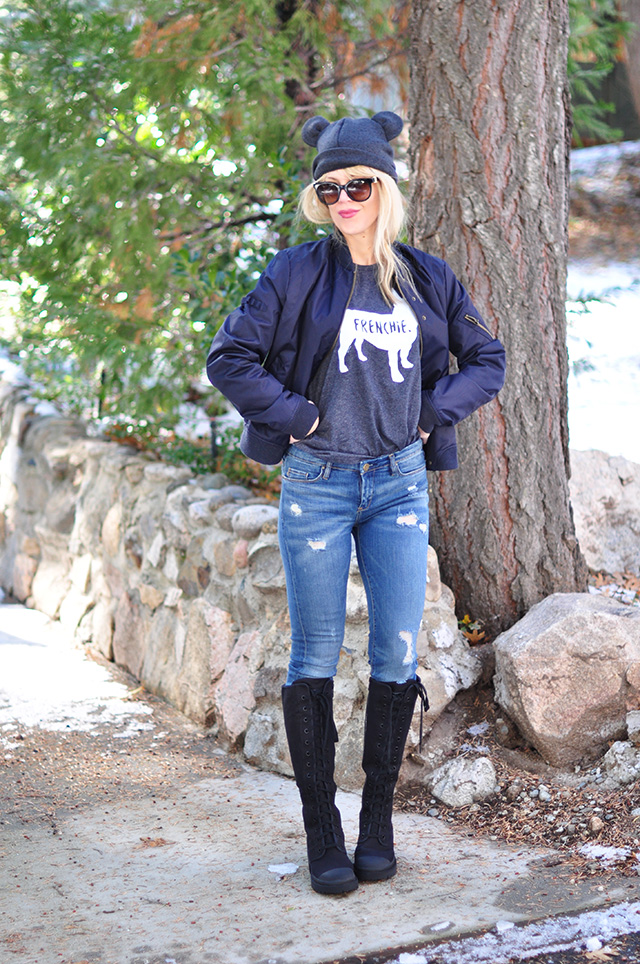 jeans_boots_flight jacket_frenchie tee_beanie with ears