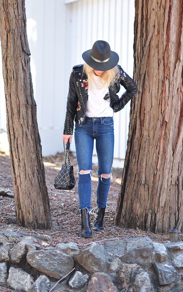 floral embroidered leather jacket + jeans and a t-shirt