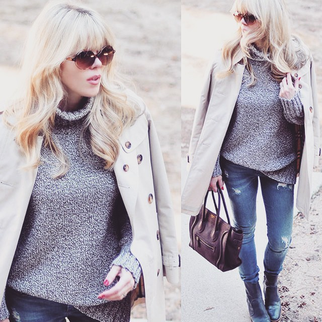 jeans and sweater_burberry trench_celine bag