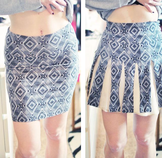 jersey tube skirt to cheerleader skirt diy