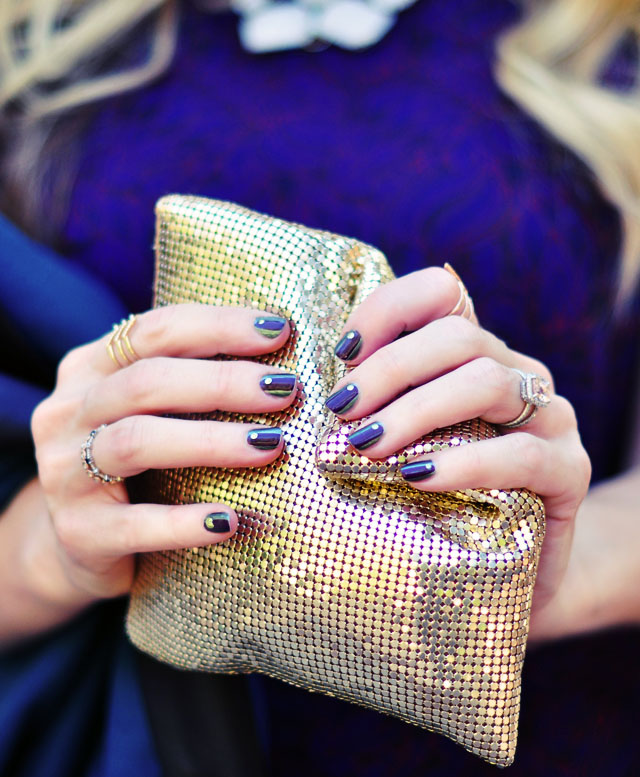 jewel tones manicure - green and purple nails