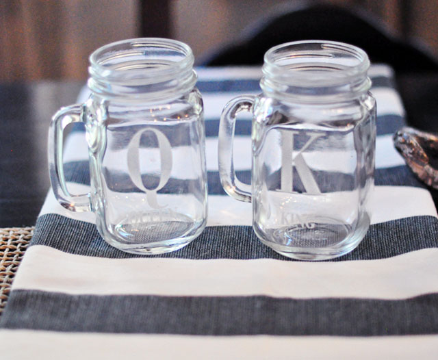 king and queen personalized mason jars