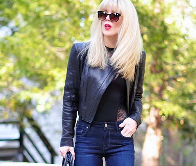 lace bodysuit+jeans+leather moto+red lips