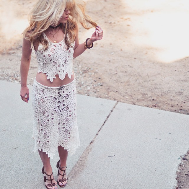 lace crop top and skirt diy
