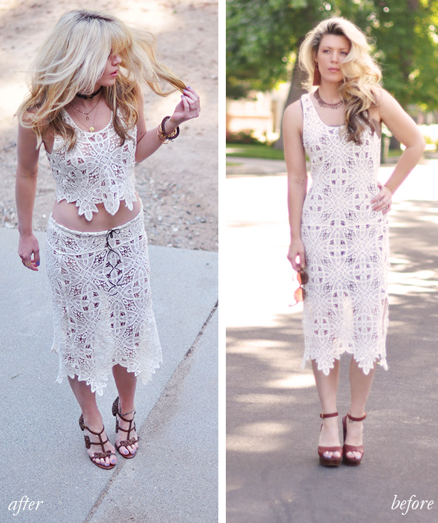 lace dress refashion before and after